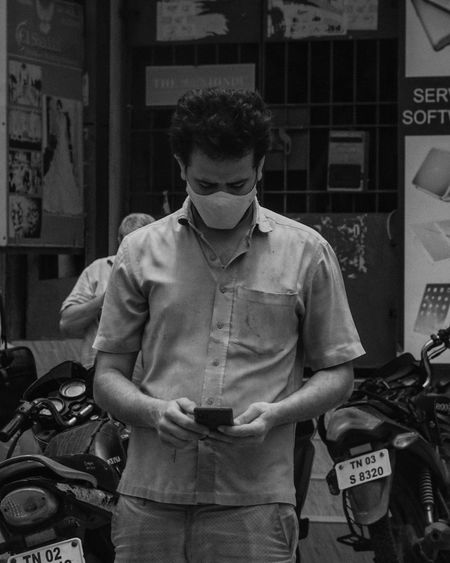 Young man using smart phone