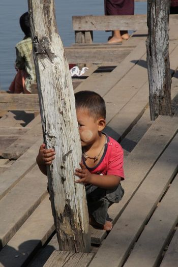 Inlelake Burma Myanmar Joke Kid Hide And Seek Found On The Roll