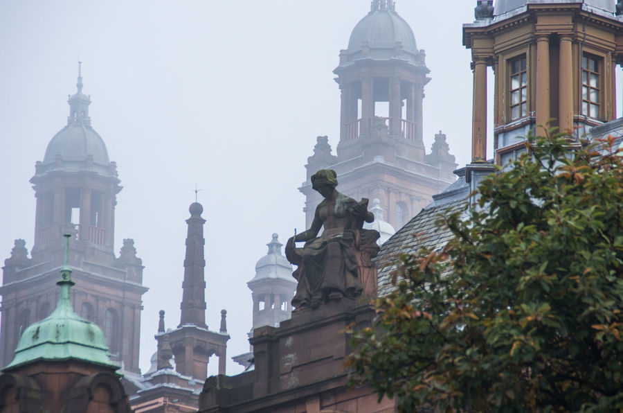 Built Structure City Classic Façade Famous Place Fog Foggy Glasgow  Kelvingrove Low Angle View Museum No People Ornate Outdoors Rooftop Sandstone Scotland Sculpture Sky Statue The Architect - 2016 EyeEm Awards Towers Victorian Battle Of The Cities
