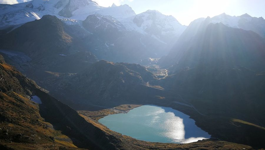 Panoramic view of mountains and a lake against sky