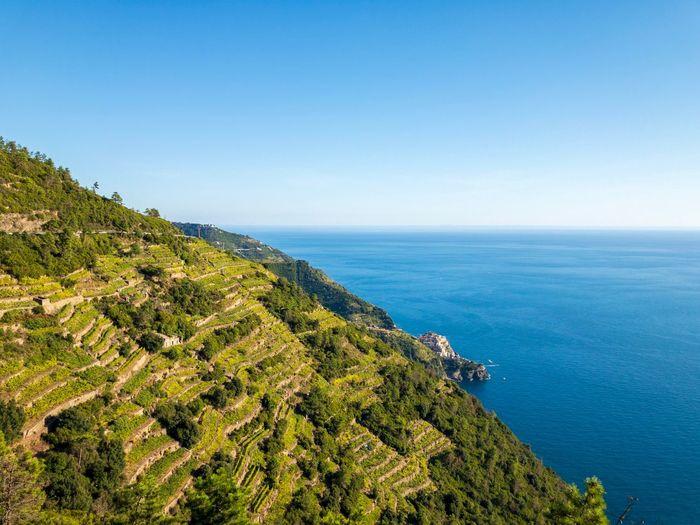 Striped Mediterranean Sea Coastline Mountain Blue Horizon Riomaggiore Vacation Nature Shotoniphonex ShotOnIphone Italy