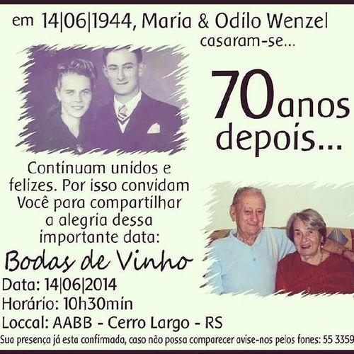 Orgulhos da neta! Só o casamento deles já corresponde ao tempo de vida de muita gente. São 91 anos de idade. É muito amor!! ♡♥ Avós 70anosdecasados Bodasdevinho FamíliaWenzel amomuito