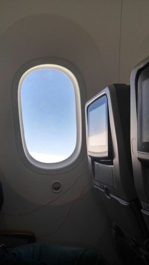 Sky seen through airplane window