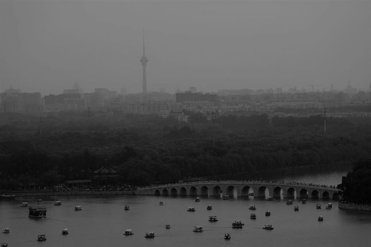 Architecture Black & White Black And White Blackandwhite Boat Ride Boats Boats And Water Bridge Built Structure City Cityscape Day Large Group Of People Nature Nautical Vessel Outdoors People Sky Summer Palace Beijing Tower Tree Water Welcome To Black An Eye For Travel The Traveler - 2018 EyeEm Awards