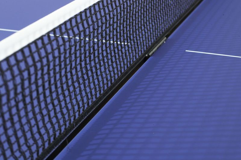 Close-up view of blue table
