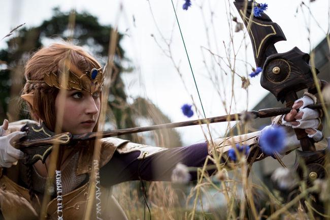 Bow Convention Cosplay Elf Flowers Grass Overcast Zelda