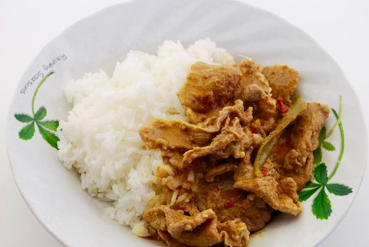 Thai red curry pork Food Food And Drink Plate Ready-to-eat Healthy Eating Freshness Rice - Food Staple Wellbeing Meal Indoors  No People Serving Size Meat Close-up Vegetable Still Life Rice High Angle View Garnish Studio Shot Dinner Crockery Temptation Thai Curry Thai Red Curry