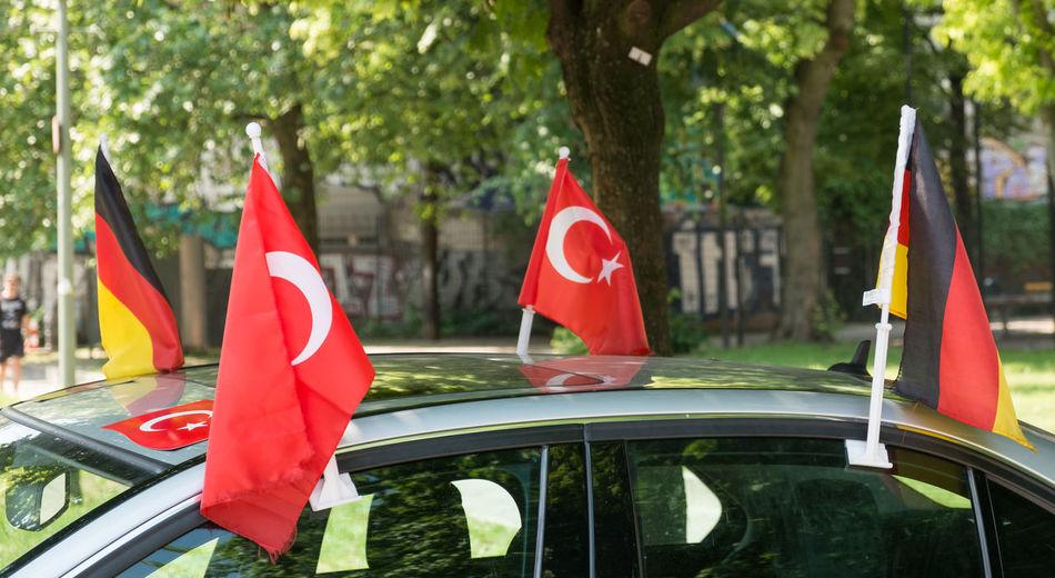 Berlin Berlin Kreuzberg Flags Flags On A Car Football Fan Fußballfieber German Flag Kreuzberg Soccer Fan Symbol Turkish Flag