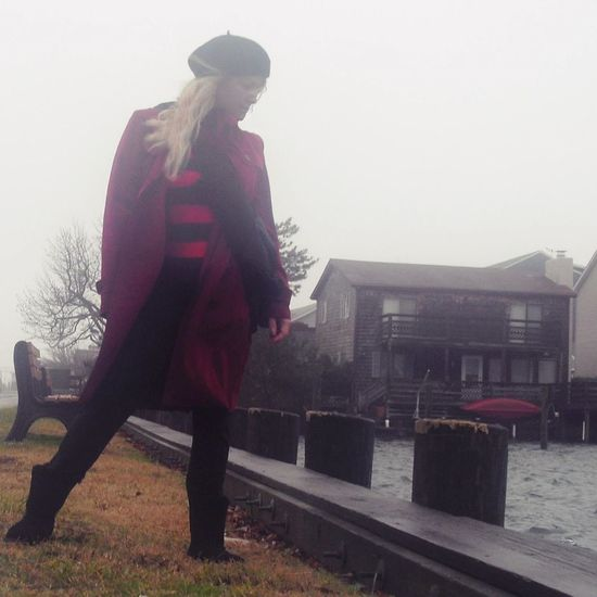 Beret Foggy Day Full Length Long Blonde Hai One Person One Woman Only Outdoors Red Raincat