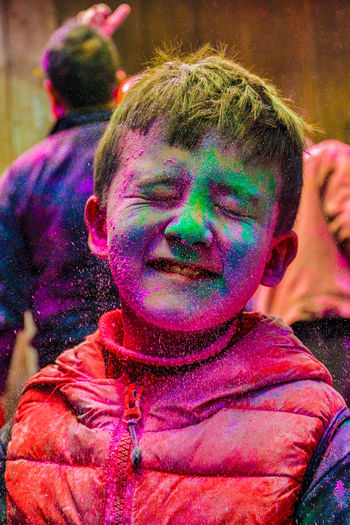 Close-Up Of Boy With Powder Paint