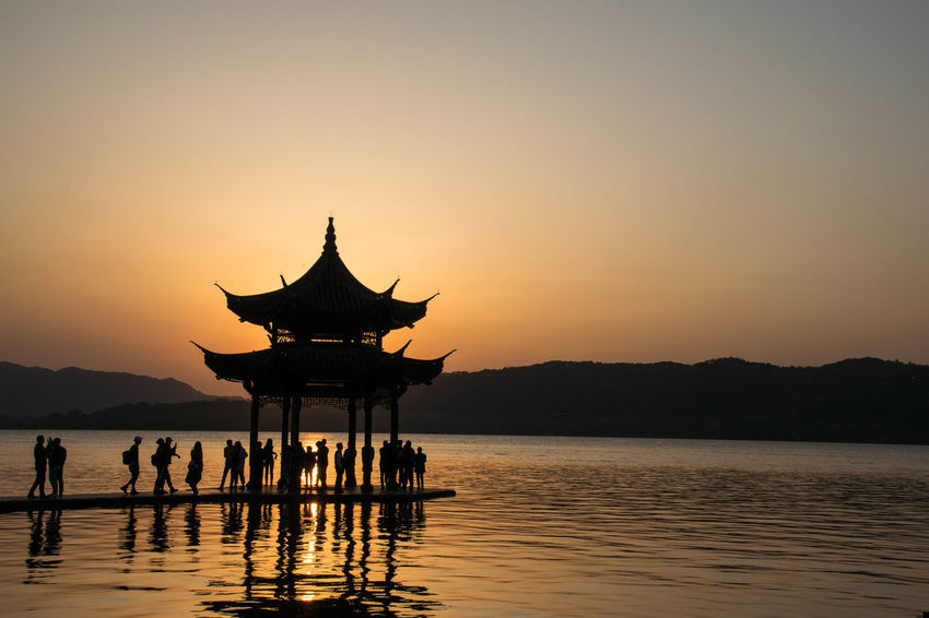 Hangzhou Lost In The Landscape Beauty In Nature Lake Nature Outdoors Scenics Silhouette Sky Sunset Water