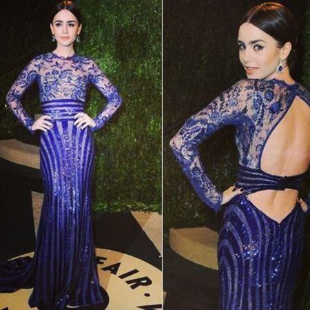 Oldie but goldie ♥️♥️??✌️ Lilycollins Queen Loveher Blue dress @lilyjcollins