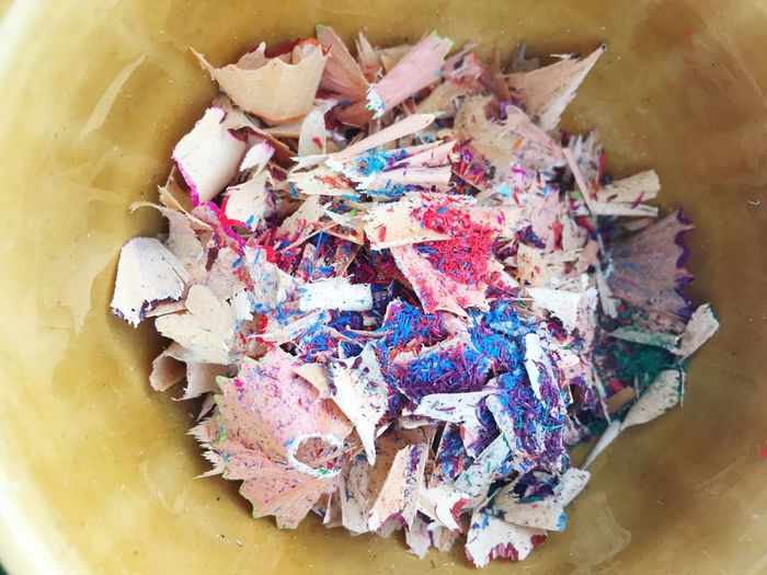 High Angle View Of Pencil Shavings In Container