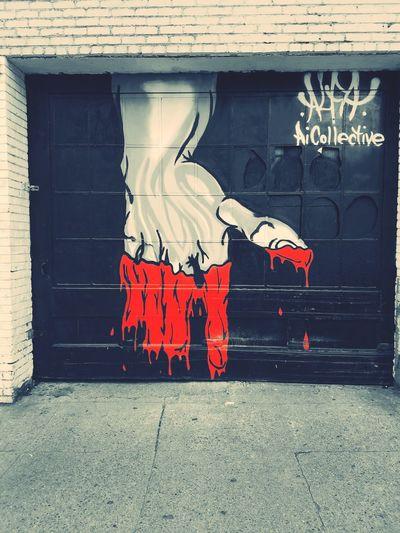 Street art, San Francisco. Red Splash Black & White Daytime Photography Bllack And White Photography Streetphotography Street Art/Graffiti Urban Art Graffiti Street Art Architecture Built Structure