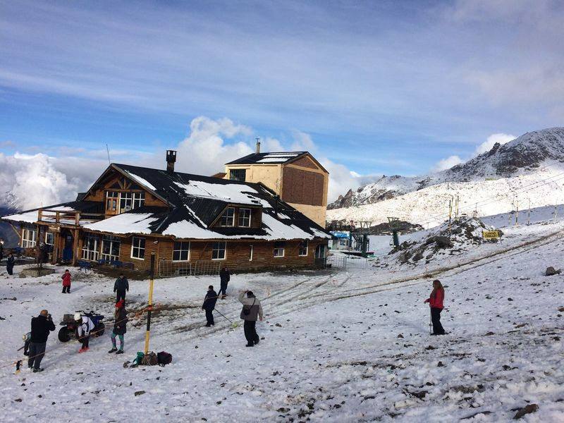 Winter Bariloche, Argentina Snow Autumn Mountain Relaxing Tourists White Color Roof Cerro Catedral