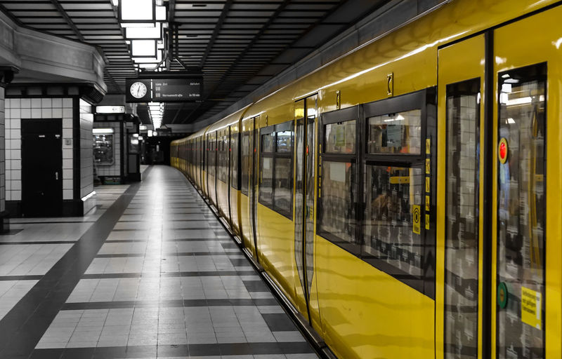 the yellow Train ... Absence Bahnsteig  Berlin Blurred Motion Color Key Composition Diagonal Gelb Leading Passenger Train Perspective Public Transport Public Transportation Railroad Station Speed Subway Subway Station Subway Train Train Train Station U-Bahn U-Bahnhof Yellow Zu Paint The Town Yellow
