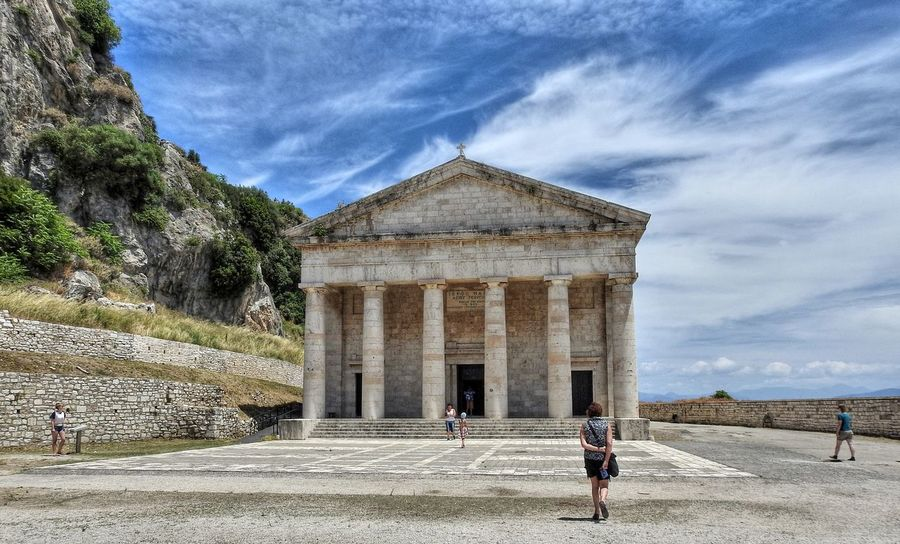 Church of St. George built in 1840 , in the Old Fortress, Corfu, Greece Architecture Building Exterior Built Structure Church Cloud - Sky Corfu Corfu Town Day Greece Historical Building Historical Sights History Outdoors Real People Sky Sunny Tourism Travel Travel Destinations