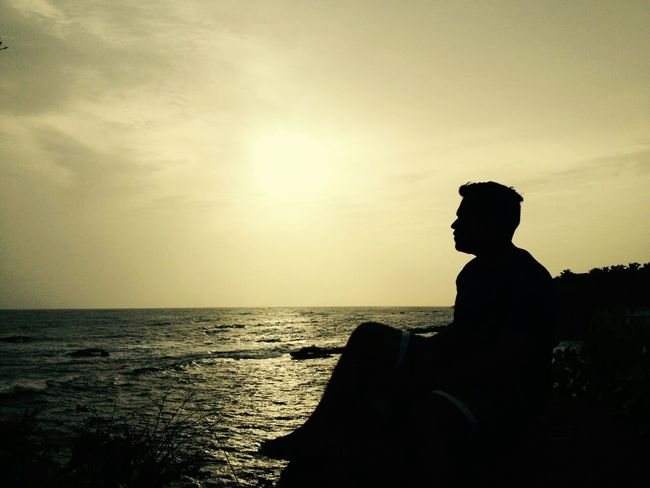 Hillside Clouds And Sky One Person Chillout Spot Beach Sky Day Horizon Over Water Outdoors Sea Shadow Shadow And Light Adventures Thefeelz Sunset Only Men Contemplation One Man Only