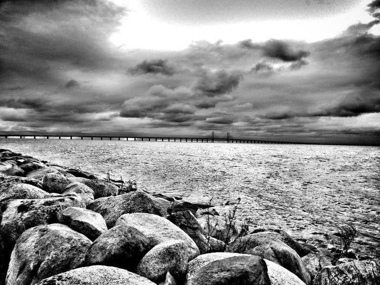 Water Sea Rock - Object Cloud - Sky Sky Cloud Shore Cloudy Ocean Stone - Object Bridge Bridge - Man Made Structure Monochrome Photography Black & White