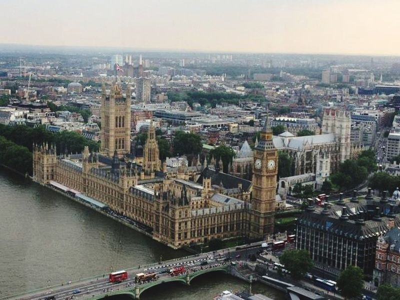Aerial Shot London Houses Of Parliament Big Ben River Thames London Bus Boats View From London Eye