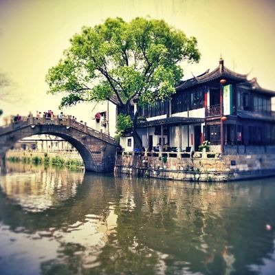 Shot this utterly beautiful and serene picture of an old China village. At Feng -jing-shen near jiaxing shanghai. There are many such old towns in China that have preserved the ancient Architecture and town planning. The marvel of water ways and a series of bridges that connect different parts of this water town is unique and Mesmerising . The Picturesque rendition of each frame talks a million words about the advanced civil engineering and town planning of Chinese. China Fengjingtown Fengjing Village View Bridge Bridges Water Canal Old Ancient Unique on Oneplus