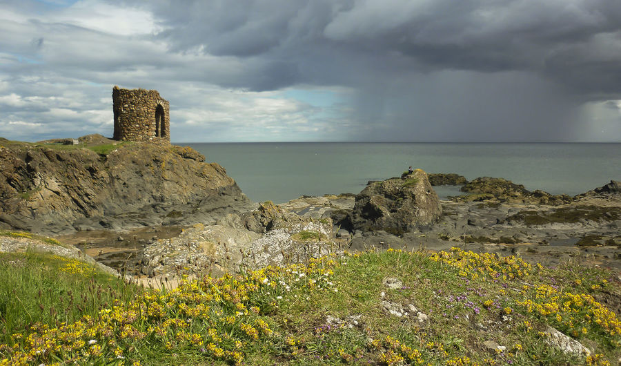 ELIE Beauty In Nature Cloud - Sky Day Grass Horizon Over Water Lady's Tower Nature No People Outdoors Rock - Object Scenics Sea Sky Storm Cloud Tranquil Scene Tranquility Water