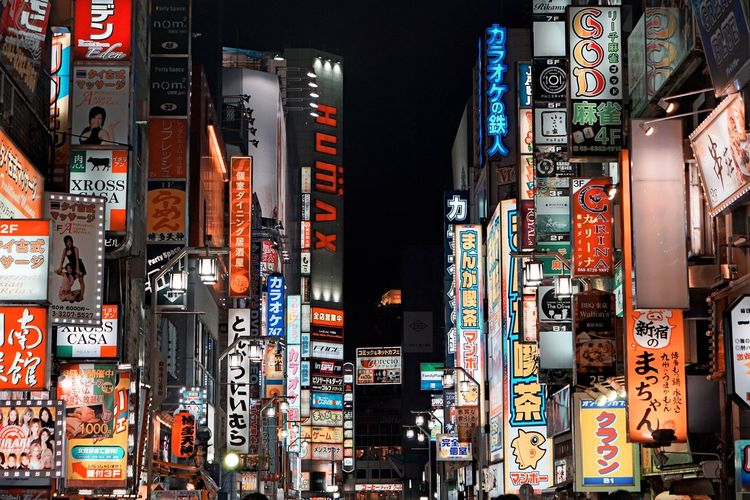Text Built Structure Architecture Communication Advertisement Building Exterior Illuminated Billboard No People City Sign Non-western Script Script Night Building Outdoors Multi Colored Skyscraper Nightlife