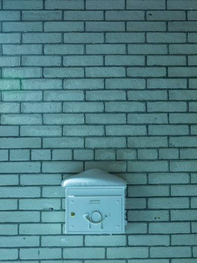 Architecture Blue Brick Brick Wall Built Structure Close-up Communication Connection Day Door Entrance Mailbox Metal No People Pattern Textured  Turquoise Colored Wall Wall - Building Feature