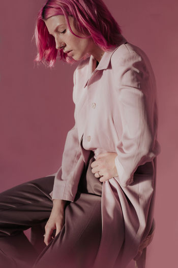 Pink mood Art Photography Fashion Pink Studio Woman Coat Indoors  Leaves Light And Shadow Monochrome Monocrome Nacked One Person Soft Pink Studio Shot Tatoo Women The Week On EyeEm Editor's Picks