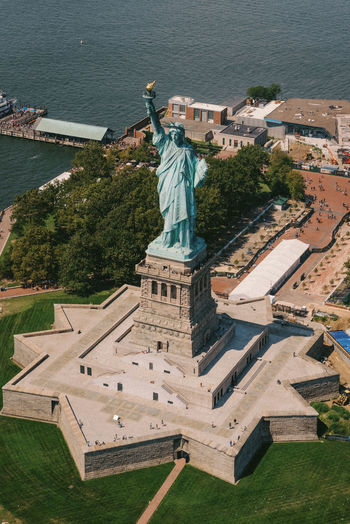 Aerial view of statue of liberty