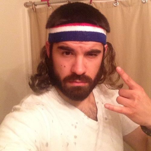 I don't normally do selfies but...this just happened! Mullet Headband USA Businessupfront partyintheback