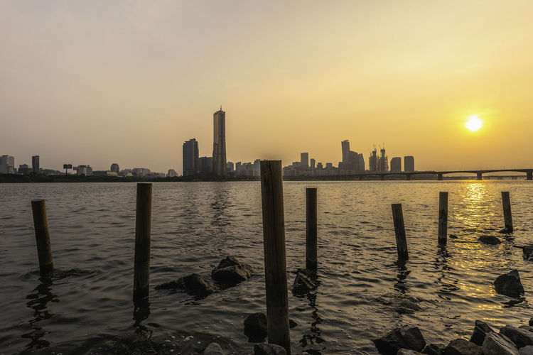 Sunset at Seoul City and Han River, Seoul, South Korea