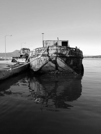 Black And White Friday Reflection Sea Water No People Outdoors Day Rust Rusty Ship Old Harbor