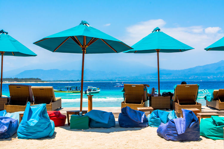 Beach Chill Out Coast Fun Gili Trawangan INDONESIA Lounge Chair Parasol Person Protection Relaxation Sand Scenics Sea Shore Sitting Sky Summer Sun Lounger Sunshade Tourism Tranquil Scene Travel Destinations Vacations Water The Great Outdoors - 2017 EyeEm Awards