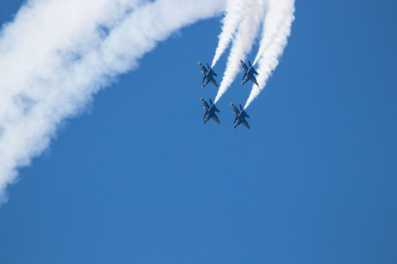 Navy Blue Angels Aerobatics Aerospace Industry Air Vehicle Airplane Airshow Blue Cloud - Sky Day Fighter Plane Flying Low Angle View Mid-air Mode Of Transportation Motion Nature No People on the move Outdoors Plane Sky Smoke - Physical Structure Teamwork Trail Transportation Vapor Trail