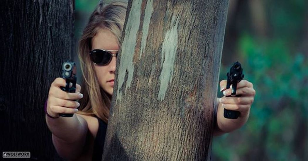 If you go down to the woods today You better be carrying a gun Woman Terminator Dualweild Guns Pistols Automatic Woods Forest Shades Cute Sexy Awesome Girlswithguns Pentax Wolfworx