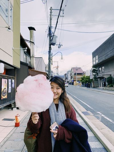 Cotton Candy kinda day Cotton Candy! Travel Destinations Kyoto Japan Real People Architecture Building Exterior City Lifestyles Women Moments Of Happiness Winter Leisure Activity Casual Clothing Females