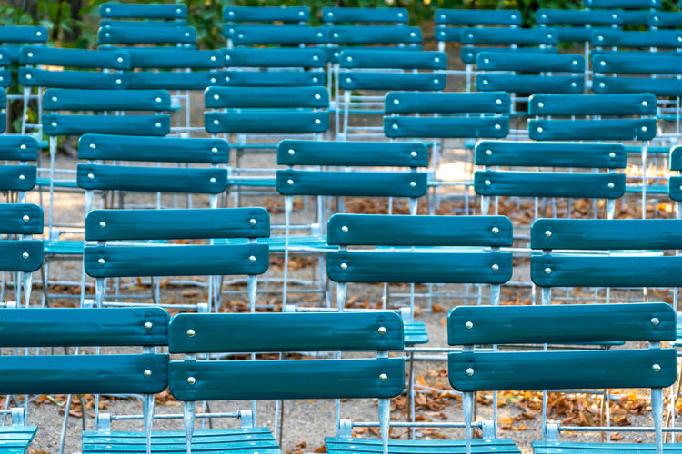 Full Frame Shot Of Empty Chairs Outdoors