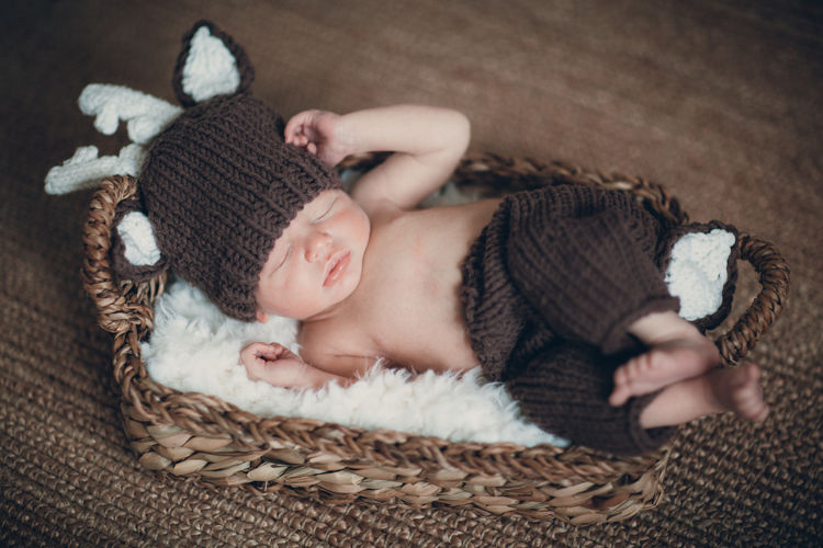 Lying Down One Person Relaxation Eyes Closed  Sleeping Child Indoors  Baby Childhood Young High Angle View Babyhood Innocence Clothing Cute Comfortable Full Length Real People Newborn NewBorn Photography Deer Baby Clothing 5days 5 DAYS OLD Cute Baby