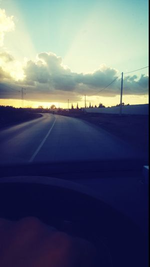 View of road at sunset