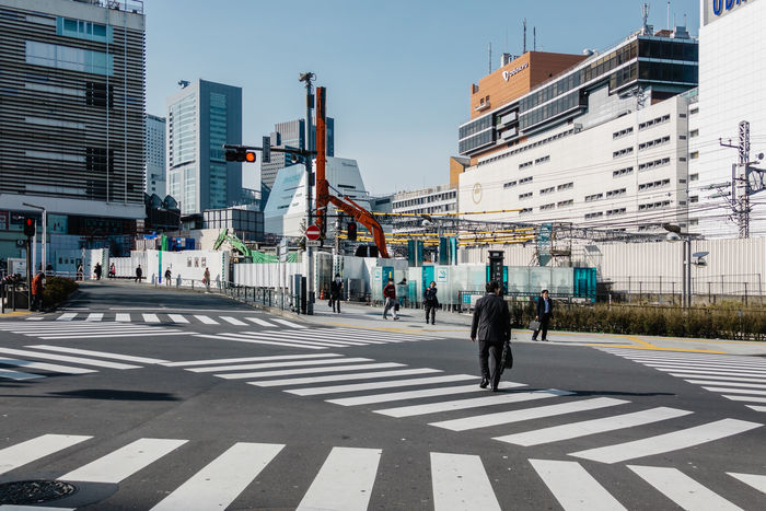 Heading to the office Architecture Building Exterior City City Life Crossing Japan Morning Pedestrian People Real People Road Shinjuku Street Tokyo Walking