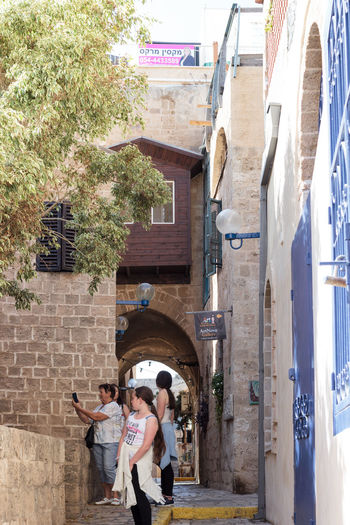 Yafo, Israel, October 15, 2016: Quiet street in old city Yafo, Israel Alley Ancient Architecture Architecture Brick Building City Culture Day House Israel Jaffa Medieval Narrow Old Quiet Road Stone Street Tourism Town Travel Urban Wall Yafo