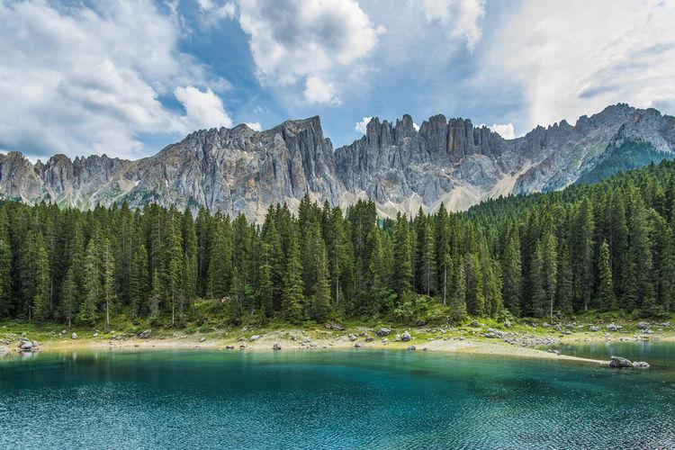 Enchanted panorama. lake of carezza. dolomites, italy