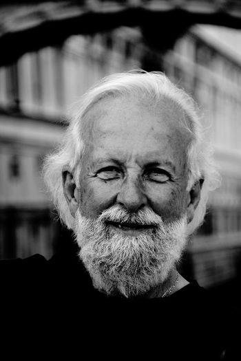Black And White Collection  Black And White Portrait Blackandwhite Blurred Background Close-up Experience Eye4photography  EyeEm Best Shots EyeEm Gallery Faces Of EyeEm Focus On Foreground Friendly Happy Headshot Portrait Selective Focus Smile The Portraitist - 2016 EyeEm Awards Monochrome Photography White Beard White Hair Wrinkled Skin Feel The Journey Natural Light Portrait People And Places Inner Power This Is Aging