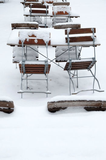 Absence Arrangement Berlin Chair Cold Temperature Composition Empty In A Row It's Cold Outside No People Outdoors Outside Seat Snow Snow Day Snow ❄ Table Winter Winter Winterscapes Wintertime