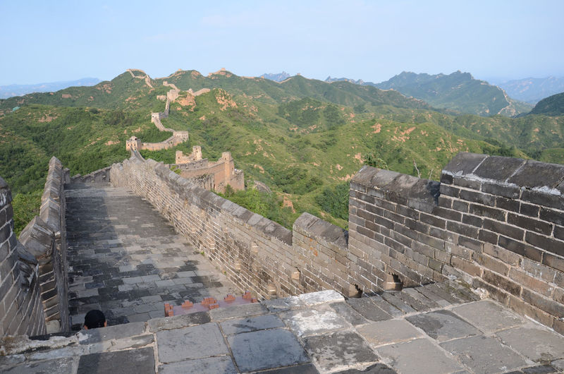Great Wall Of China On Mountains Against Clear Sky