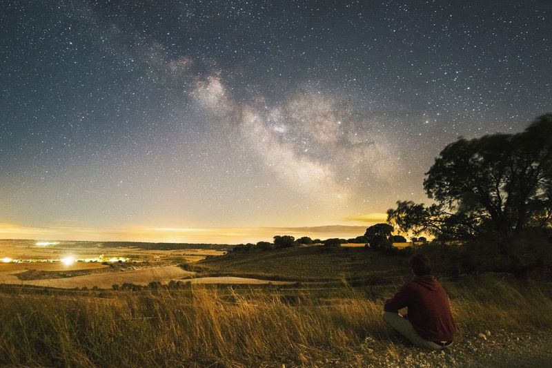 Watching the stars Star - Space Night Sky Beauty In Nature Landscape Scenics Nature Tranquil Scene Astronomy Tranquility Milky Way Galaxy Outdoors One Person Adult Tree Constellation