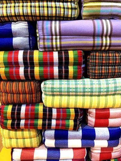ผ้าขาวม้า Thai Pattern Pattern Multi Colored Variation Textile Backgrounds Stack Blanket Choice No People Full Frame Large Group Of Objects Market Indoors  Close-up Day Thaithai