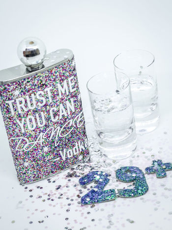 29th 30th Drinks Glitter Alcohol Birthday Close-up Day Drink Drinking Drinking Glass Food And Drink Freshness Healthy Eating High Angle View Indoors  No People Party Refreshment Shots Still Life Table Vodka Water White Background