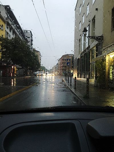 The Weather Outside My Car Rainy Day Late In The Afternoon City Life City Lights Glass Windscreen Heavy Rain